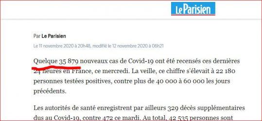 Article du 11 novembre 2020 paru sur www.leparisien.fr