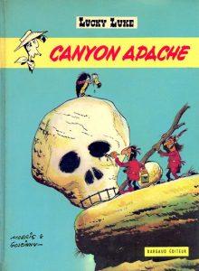 """Couverture de l'album de Lucky Luke """"Canyon apache"""", par Morris et Goscinny (1971)"""