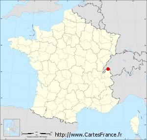 Localisation de la ville française d'Évian-les-Bains (74)