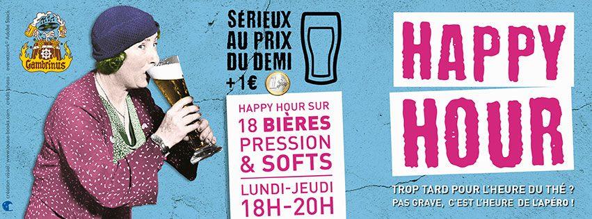 Affiche promotionnelle pour l'happy hour