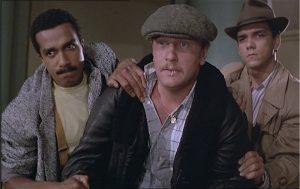 """Pascal legitimus, Seymour Brussel et Didier Bourdon, dans le film français """"Le téléhone sonne toujours deux fois"""", de Jean-Pierre Vergne (1985)"""
