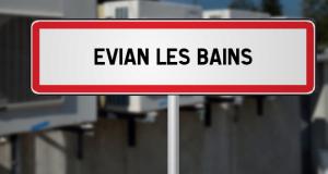 Panneau de la ville française d'Évian-les-Bains (74)