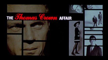 """Un écran partagé (""""split screen"""") durant le générique du film états-unien de Norman Jewison """"L'affaire Thomas Crown"""" (1968)"""