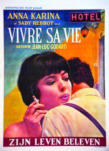 """Affiche belge du film français """"Vivre sa vie"""", de Jean-Luc Godard (1962)"""