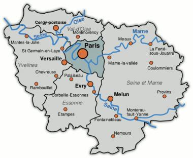 Carte de la région parisienne du site technoresto.org