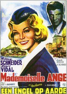 "Affiche belge du film franco-allemand ""Mademoiselle Ange"" de Geza von Radvanyi (1959)"