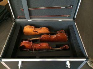 """Malle renforcé ou """"Flight case"""" avec calage intérieur en mousse pour le transport de violons"""