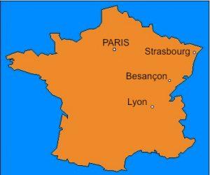 Localisation de la ville de Besançon (25)
