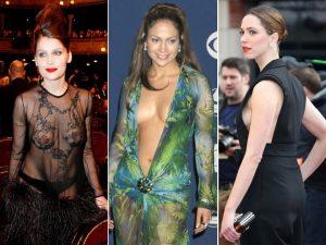 """De célèbres vedettes féminines sans soutien-gorge (""""no-bra"""") : Laetitia Casta, Jennifer Lopez et Rebecca Hall"""