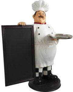 Un portier ou PLV (Publicité sur le Lieu de Vente) de restaurant