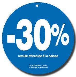 Une étiquette bleue de forme circulaire, annonçant une remise commerciale de -30%