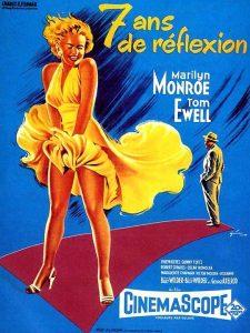 """Affiche du film états-uniens """"Sept ans de réflexion"""", de Billy Wilder (1955)"""