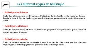 Les différents types de balistique : la balistique intérieure, la balistique extérieure et la balistique terminale