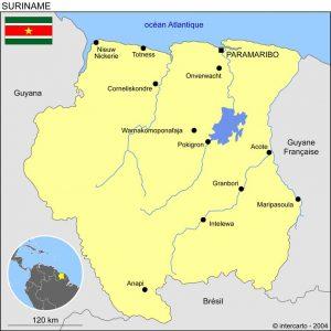 Carte du Suriname (© intercarto)