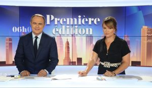 """Christophe Delay et Pascale de la Tour du Pin, homme-tronc et femme-tronc de """"Première édition"""", sur BFM TV"""