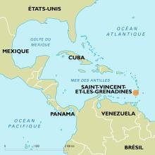 Localisation de Saint-Vincent-et-les-Grenadines