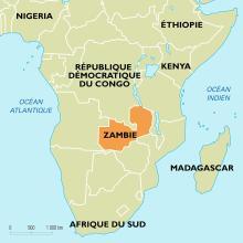Localisation de la Zambie en Afrique