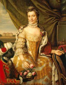 """Sophie-Charlotte de Mecklembourg-Strelitz (19 mai 1744 - 17 novembre 1818), épouse du roi Feorges III et, à ce titre, reine du Royaume-Uni, de 1761 à 1818, sous le nom de """"reine Charlotte"""""""