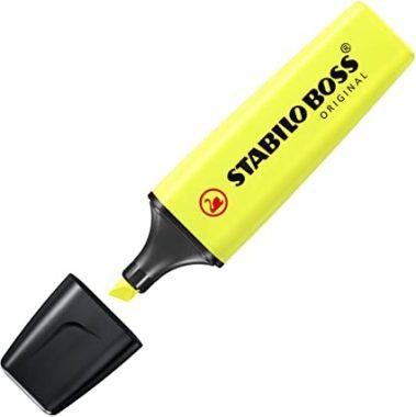 Un surligneur jaune de la marque Stabilo Boss