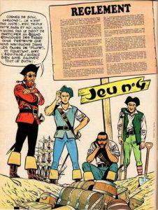 """Les pirates Barbe-Rouge, Éric, Baba et Triple-patte, de la série belge """"Barbe Rouge, le pirate des Caraïbes"""", créé en 1958 par Victor Hubinon et Jean-Michel Charlier"""