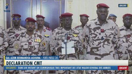 L'annonce de la mort du président tchadien Idriss Déby Itno, le 20 avril 2021 par le porte-parole du CMT (Conseil Militaire de Transition), le général Azem Bermandoa Agouna