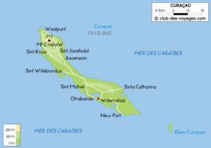 Carte de l'île de Curaçao