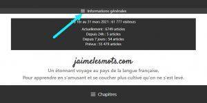 Informations générales du blogue jaimelesmots;com sur téléphone portable