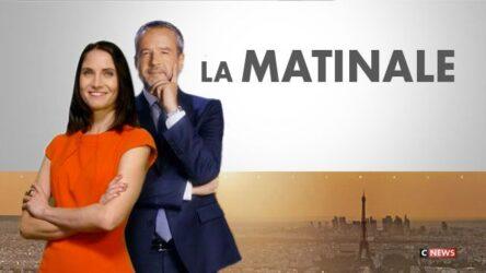 """L'émission """"La matinale"""", avec Clélie Mathias et Romain Desarbres, sur la chaîne de télévision française d'information en continu CNews (© CNews)"""