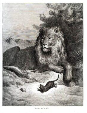 """""""Le lion et le rat"""", une fable de Jean de la Fontaine (1668)"""