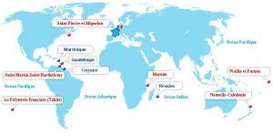 Les DROM-COM (Départements et Régions d'Outre-Mer - Collectivités d'Outre-Mer) français