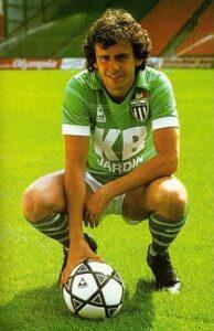 Michel Platin, sous le maillot vert de l'ASSE (Association Sportive de Saint-Etienne)