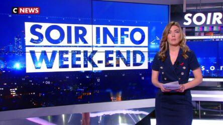 """L'émission """"Soir Info Week-end"""", de Barbara Klein, sur la chaîne de télévision française d'information en continu CNews"""