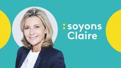 """L'émission """"Soyons Claire"""", de Claire Chazal, sur la chaîne de télévision trançaise d'information en continu franceinfo"""