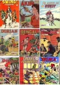 """9 revues de bande dessinée petit format noir et blanc ou """"Illustrés"""", par ellipse de """"Journaux illustrés"""""""