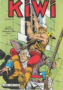 """Le trappeur Blek le roc agressant un """"homard rouge"""" en couverture du n° 329 de septembre 1982 de la revue petit format """"Kiwi"""""""