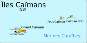 Carte des îles Caïmans, territoire britannique d'outre-mer situé dans les Caraïbes