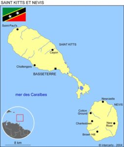 Carte de Saint-Christophe-et-Niévès ou Saint-Kitts-et-Nevis
