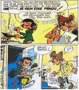 """""""Raoul de la photocopieuse"""" (Raoul Cauvin) dessiné par André Franquin dans différents gags de Gaston Lagaffe"""