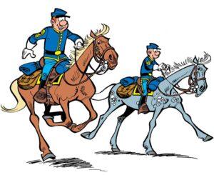 """Le sergent Chesterfield et le caporal Blutch, les célèbres """"Tuniques bleues"""" créées en 1968 par Raoul Cauvin et Louis Salvérius, remplacé à sa mort, en 1972, par Willy Lambil"""