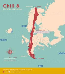 Comparaison de la longueur du Chili (4 271 km) avec l'Europe occidentale, du Nord de la Suède à environ 500 km au Sud de l'Espagne