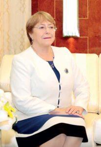 Michelle Bachelet, femme d'État chilienne d'ascendance française, présidente de la République de 2006 à 2010 et de 2014 à 2018, Haut-Commissaire des Nations unies aux droits de l'homme depuis 2018