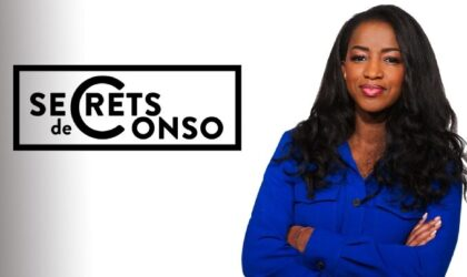 """Logotype de l'émission """"Secrets de conso"""", présentée, depuis le 17 mars 2021, par l'entrepreneuse et animatrice française Hapsatou Sy, sur la chaîne de télévision française RMC Story"""