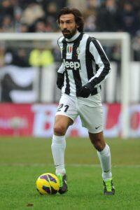 Le joueur de football international italien Andrea Pirlo, sous le maillot de la Juventus de Turin
