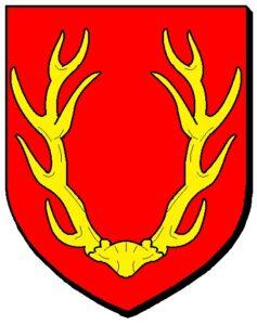 """Le blason de la ville de Niedersteinbach (67), comportant un """"massacre"""" (tête de cerf) : """"De gueules au massacre de cerf d'or"""""""