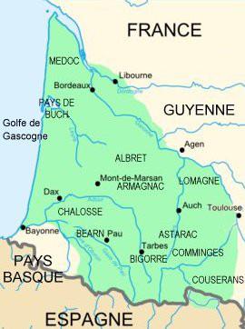 Carte de la Gascogne
