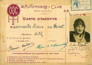 La carte de l'Automobile Club de Vichy de Simone Louise de Pinet de Borde des Forest