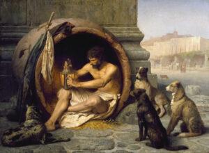 Le philosophe Diogène de Sinope vivant dans sa jarre renversée