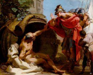 Le philosophe Diogène de Sinope vivant dans son tonneau