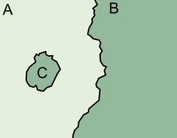 """La région C est une """"exclave"""" du pays B, mais n'est une """"enclave"""" d'aucun pays (© wikipedia.org)"""