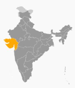 Localisation de l'État indien du Gujarat